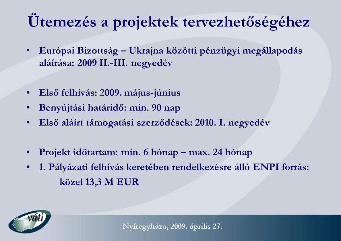Nyíregyháza, 2009. április 27. Ütemezés a projektek tervezhetőségéhez Európai Bizottság – Ukrajna közötti pénzügyi megállapodás aláírása: 2009 II.-III