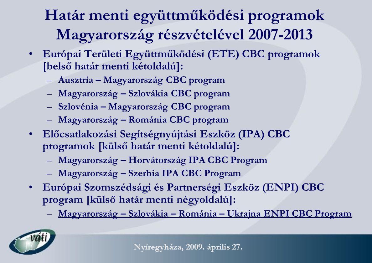 Nyíregyháza, 2009. április 27. Határ menti együttműködési programok Magyarország részvételével 2007-2013 Európai Területi Együttműködési (ETE) CBC pro