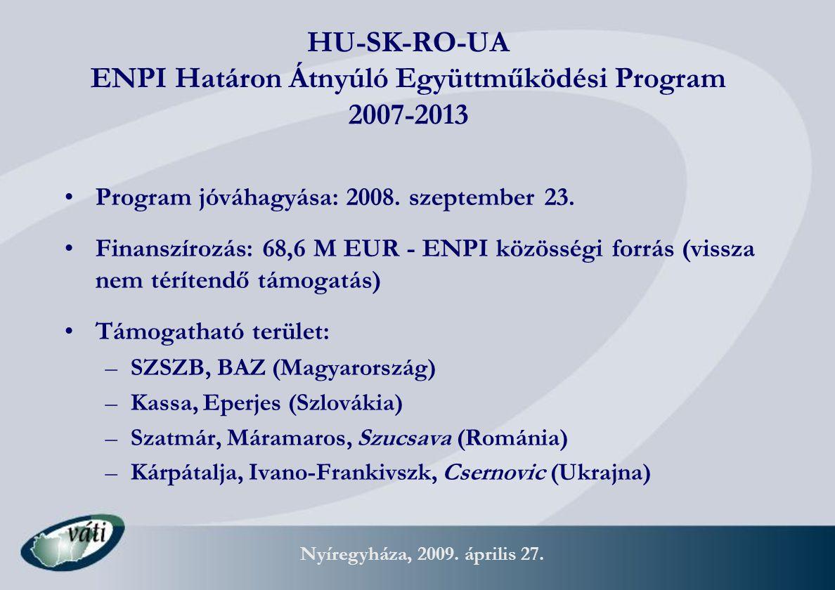 Nyíregyháza, 2009. április 27. HU-SK-RO-UA ENPI Határon Átnyúló Együttműködési Program 2007-2013 Program jóváhagyása: 2008. szeptember 23. Finanszíroz