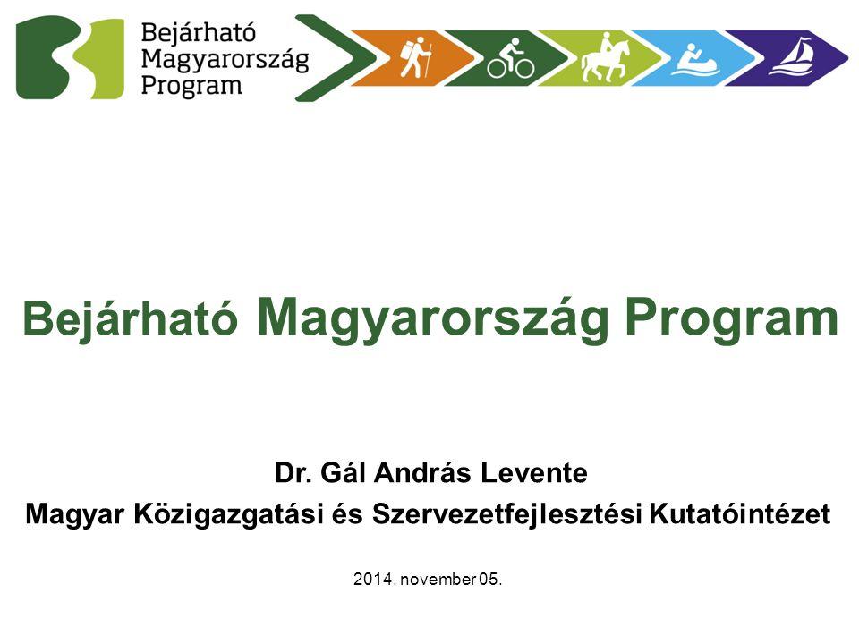 Bejárható Magyarország Program Dr. Gál András Levente Magyar Közigazgatási és Szervezetfejlesztési Kutatóintézet 2014. november 05.