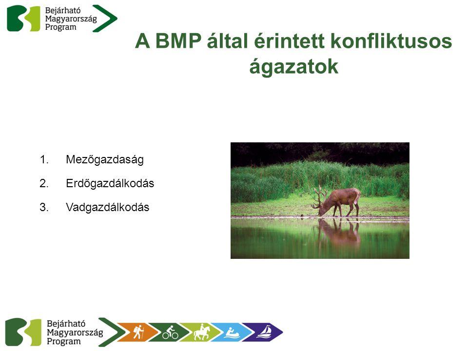 A BMP által érintett konfliktusos ágazatok 1.Mezőgazdaság 2.Erdőgazdálkodás 3.Vadgazdálkodás