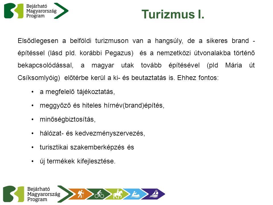 Turizmus I. Elsődlegesen a belföldi turizmuson van a hangsúly, de a sikeres brand - építéssel (lásd pld. korábbi Pegazus) és a nemzetközi útvonalakba