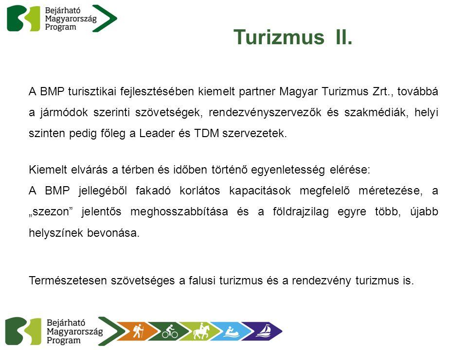 Turizmus II. A BMP turisztikai fejlesztésében kiemelt partner Magyar Turizmus Zrt., továbbá a jármódok szerinti szövetségek, rendezvényszervezők és sz