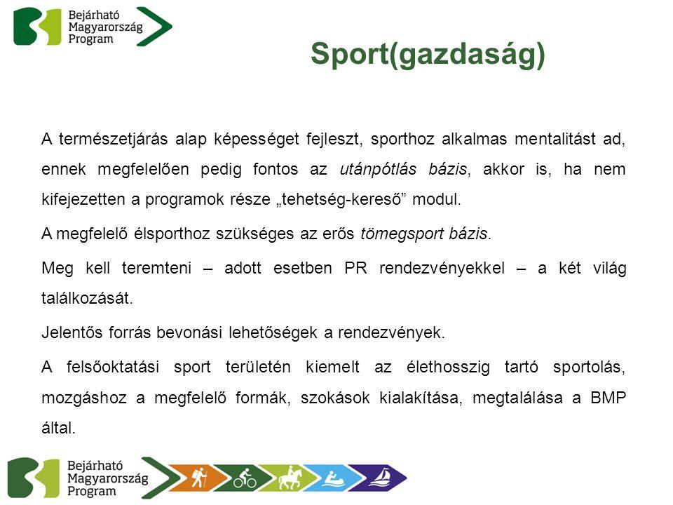 """Sport(gazdaság) A természetjárás alap képességet fejleszt, sporthoz alkalmas mentalitást ad, ennek megfelelően pedig fontos az utánpótlás bázis, akkor is, ha nem kifejezetten a programok része """"tehetség-kereső modul."""
