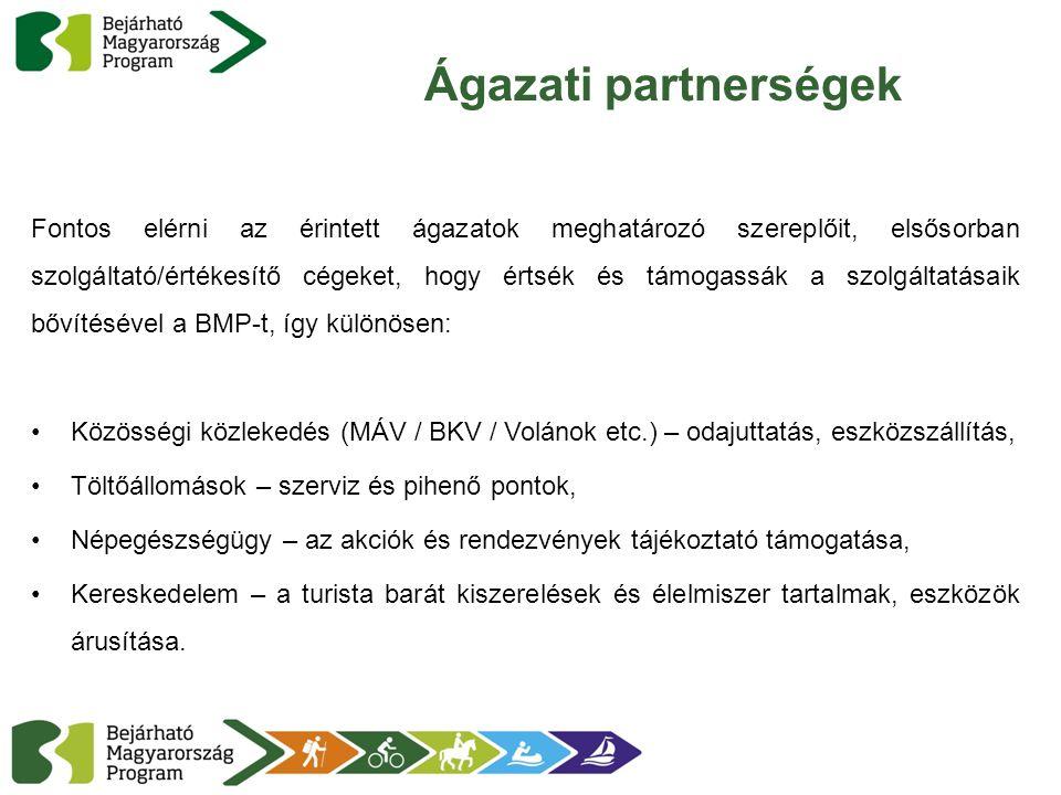 Ágazati partnerségek Fontos elérni az érintett ágazatok meghatározó szereplőit, elsősorban szolgáltató/értékesítő cégeket, hogy értsék és támogassák a szolgáltatásaik bővítésével a BMP-t, így különösen: Közösségi közlekedés (MÁV / BKV / Volánok etc.) – odajuttatás, eszközszállítás, Töltőállomások – szerviz és pihenő pontok, Népegészségügy – az akciók és rendezvények tájékoztató támogatása, Kereskedelem – a turista barát kiszerelések és élelmiszer tartalmak, eszközök árusítása.