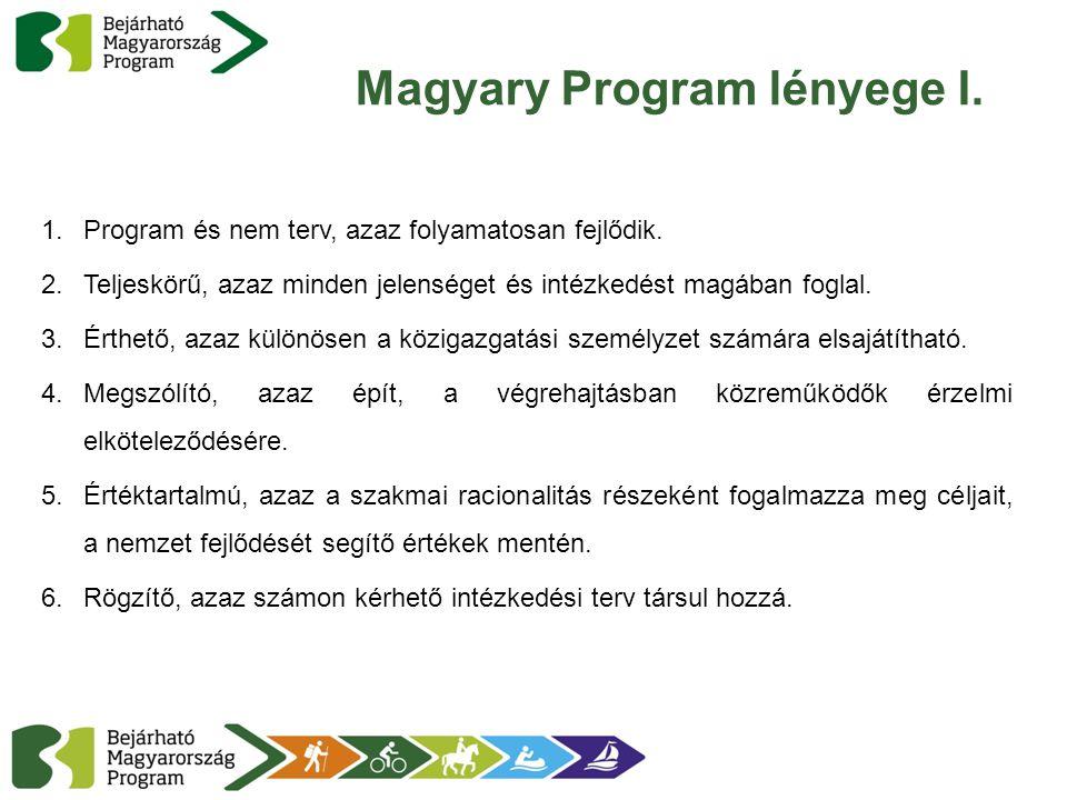 Magyary Program lényege I. 1.Program és nem terv, azaz folyamatosan fejlődik. 2.Teljeskörű, azaz minden jelenséget és intézkedést magában foglal. 3.Ér