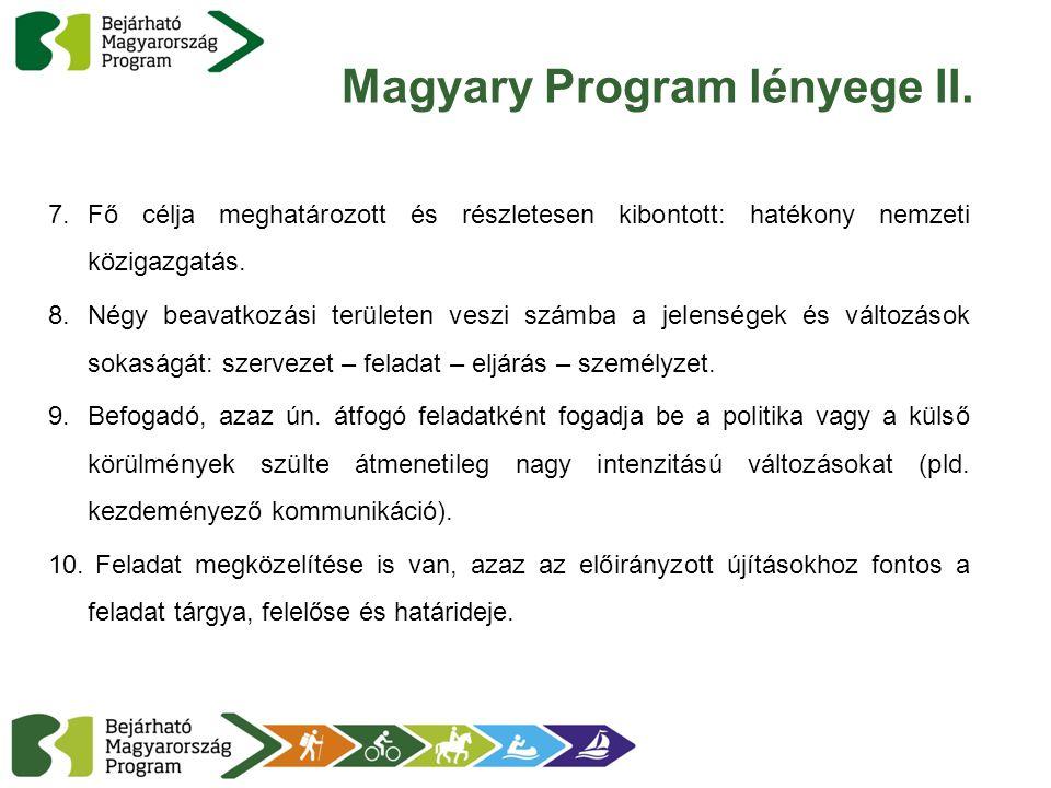 Magyary Program lényege II. 7.Fő célja meghatározott és részletesen kibontott: hatékony nemzeti közigazgatás. 8.Négy beavatkozási területen veszi szám