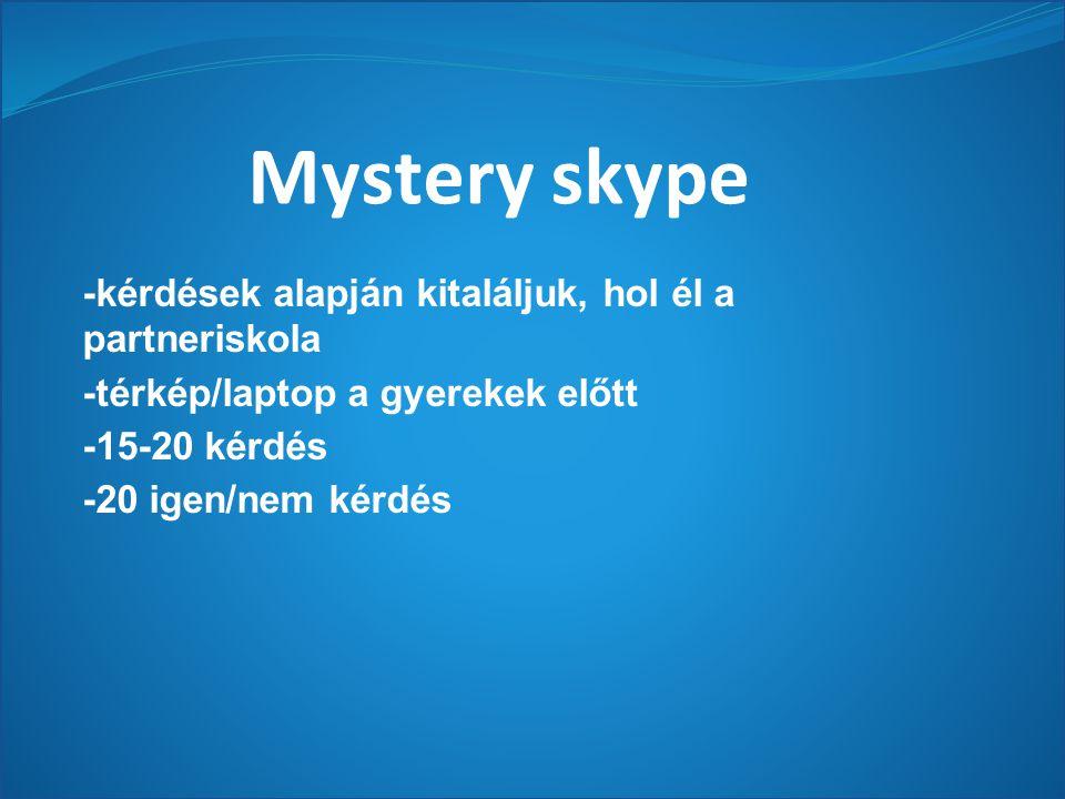 Mystery skype -kérdések alapján kitaláljuk, hol él a partneriskola -térkép/laptop a gyerekek előtt -15-20 kérdés -20 igen/nem kérdés