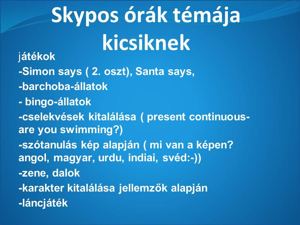Skypos órák témája kicsiknek játékok -Simon says ( 2.