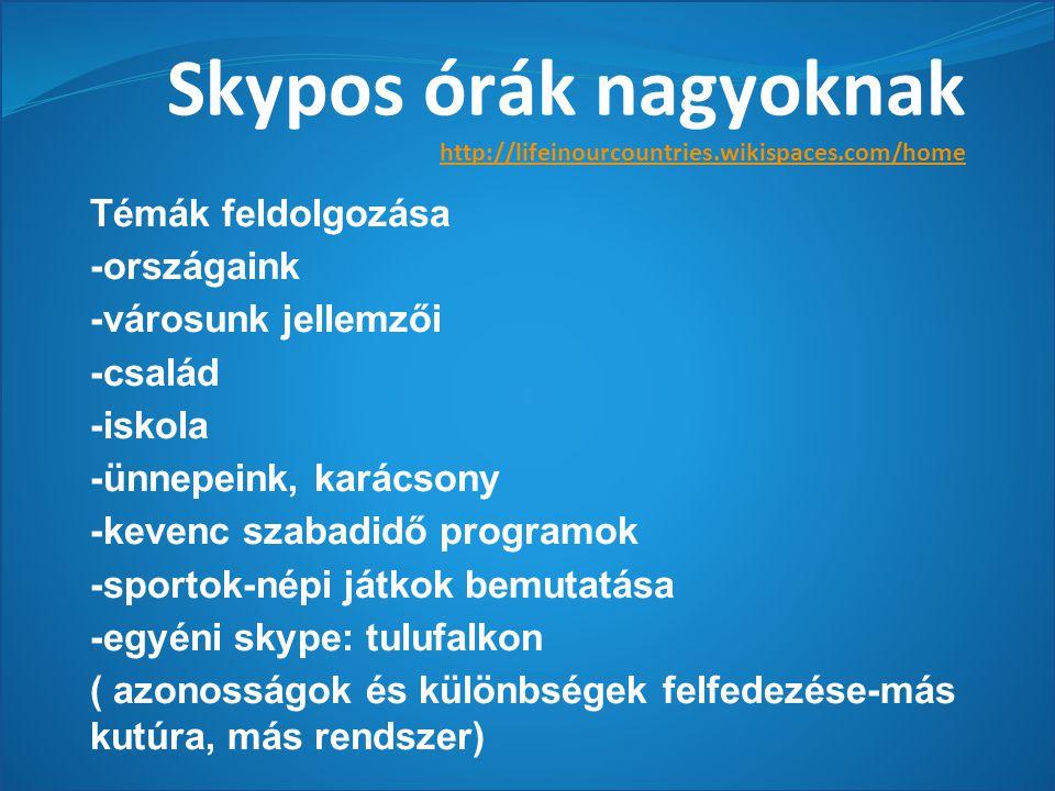 Skypos órák nagyoknak http://lifeinourcountries.wikispaces.com/home Témák feldolgozása -országaink -városunk jellemzői -család -iskola -ünnepeink, karácsony -kevenc szabadidő programok -sportok-népi játkok bemutatása -egyéni skype: tulufalkon ( azonosságok és különbségek felfedezése-más kutúra, más rendszer)