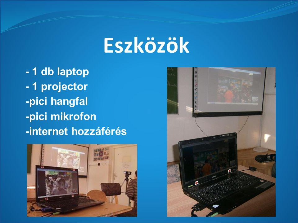 Eszközök - 1 db laptop - 1 projector -pici hangfal -pici mikrofon -internet hozzáférés