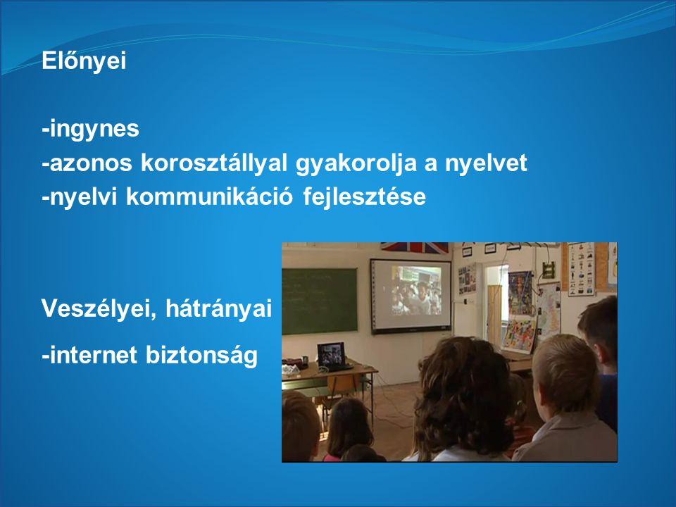 Előnyei -ingynes -azonos korosztállyal gyakorolja a nyelvet -nyelvi kommunikáció fejlesztése Veszélyei, hátrányai -internet biztonság
