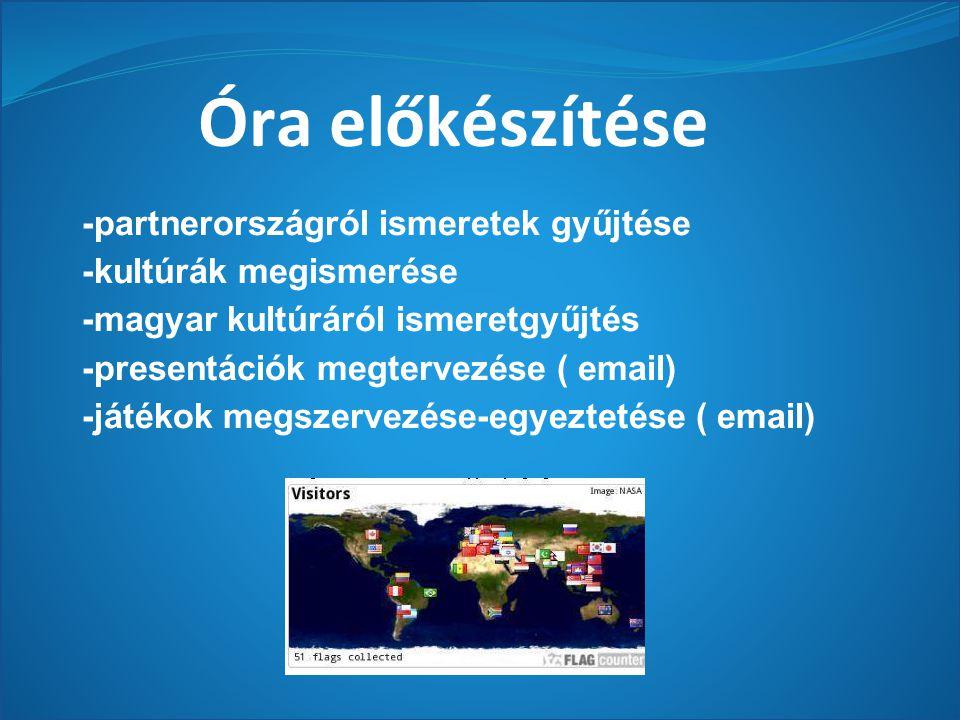 Óra előkészítése -partnerországról ismeretek gyűjtése -kultúrák megismerése -magyar kultúráról ismeretgyűjtés -presentációk megtervezése ( email) -játékok megszervezése-egyeztetése ( email)