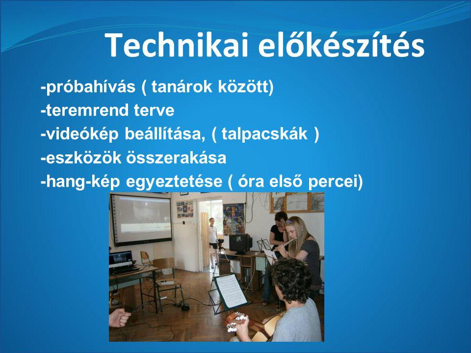 Technikai előkészítés -próbahívás ( tanárok között) -teremrend terve -videókép beállítása, ( talpacskák ) -eszközök összerakása -hang-kép egyeztetése ( óra első percei)