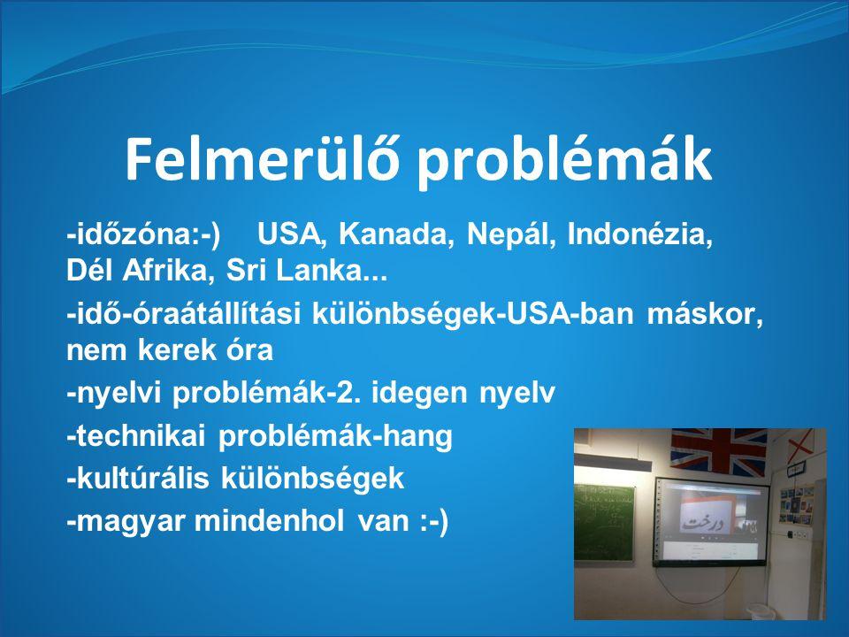 Felmerülő problémák -időzóna:-) USA, Kanada, Nepál, Indonézia, Dél Afrika, Sri Lanka...