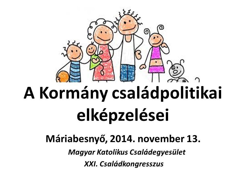 A Kormány családpolitikai elképzelései Máriabesnyő, 2014. november 13. Magyar Katolikus Családegyesület XXI. Családkongresszus