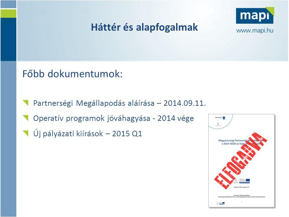 Főbb dokumentumok: Partnerségi Megállapodás aláírása – 2014.09.11. Operatív programok jóváhagyása - 2014 vége Új pályázati kiírások – 2015 Q1 Háttér é
