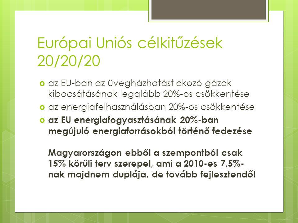 Támogatások típusai  A fentiekből egyértelműen látszik, hogy a megújuló energiaforrások használatát az EU is szorgalmazza, melyet alapvetően kétféleképpen támogat is 1.