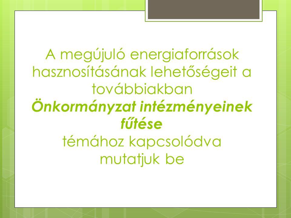 A megújuló energiaforrások hasznosításának lehetőségeit a továbbiakban Önkormányzat intézményeinek fűtése témához kapcsolódva mutatjuk be
