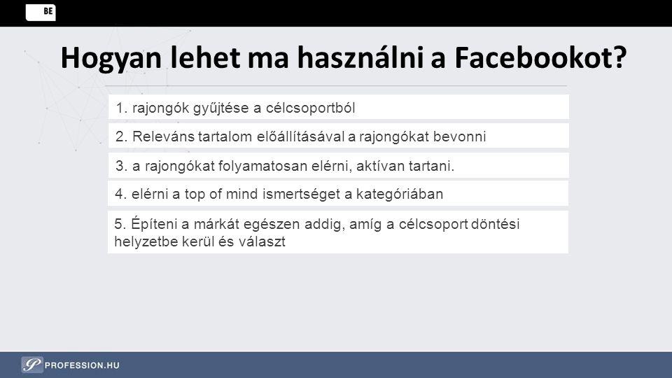 Hogyan lehet ma használni a Facebookot? 1. rajongók gyűjtése a célcsoportból 2. Releváns tartalom előállításával a rajongókat bevonni 3. a rajongókat