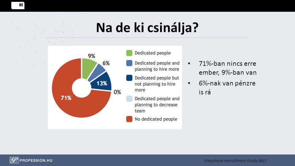 Na de ki csinálja? 71%-ban nincs erre ember, 9%-ban van 6%-nak van pénzre is rá Stepstone recruitment study 2013