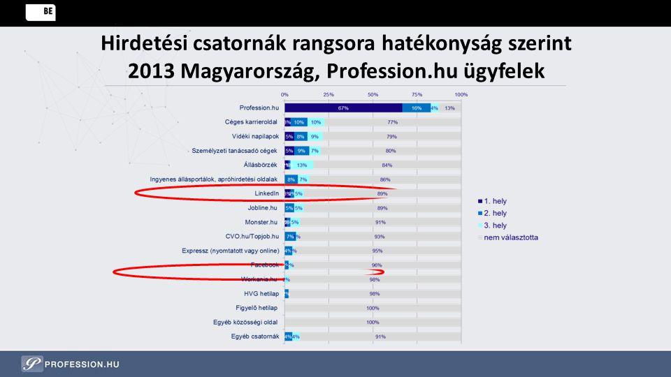 Hirdetési csatornák rangsora hatékonyság szerint 2013 Magyarország, Profession.hu ügyfelek