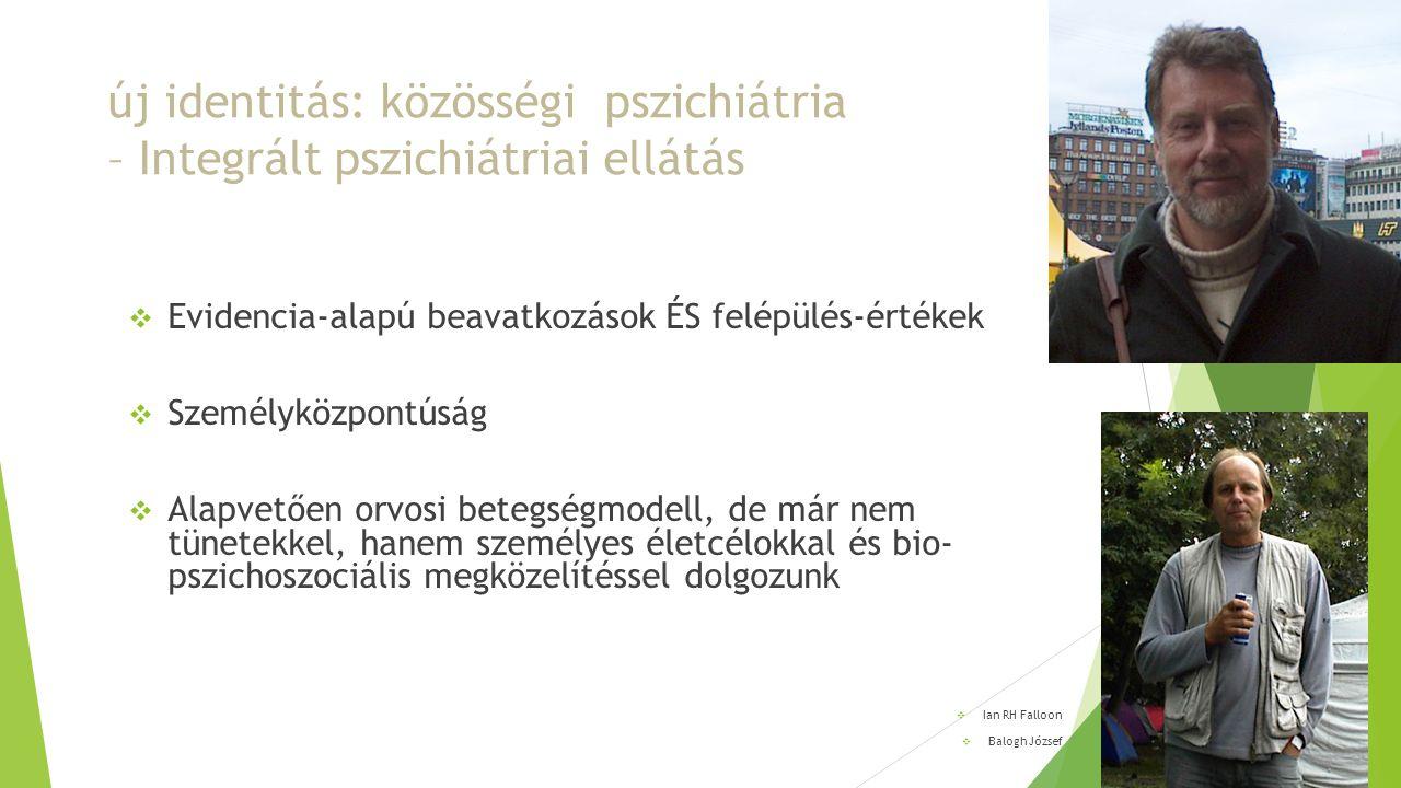 új identitás: közösségi pszichiátria – Integrált pszichiátriai ellátás  Evidencia-alapú beavatkozások ÉS felépülés-értékek  Személyközpontúság  Ala