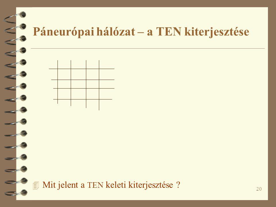 20 4 Mit jelent a TEN keleti kiterjesztése ? Páneurópai hálózat – a TEN kiterjesztése