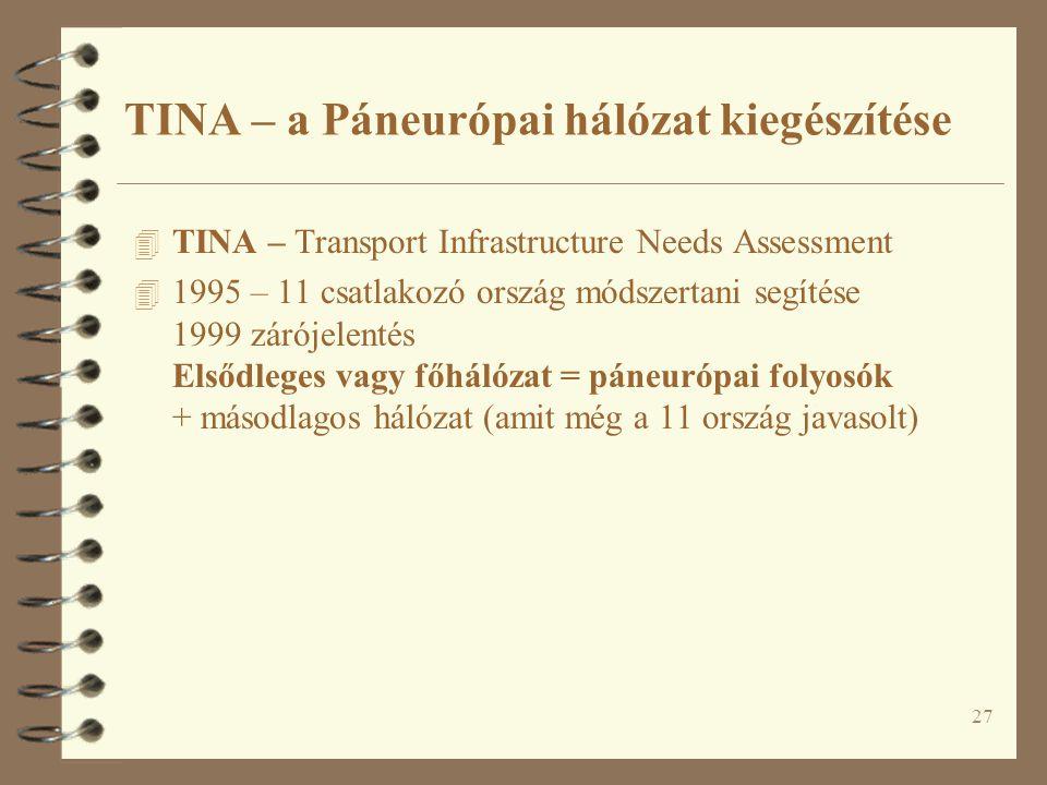 27 4 TINA – Transport Infrastructure Needs Assessment 4 1995 – 11 csatlakozó ország módszertani segítése 1999 zárójelentés Elsődleges vagy főhálózat =