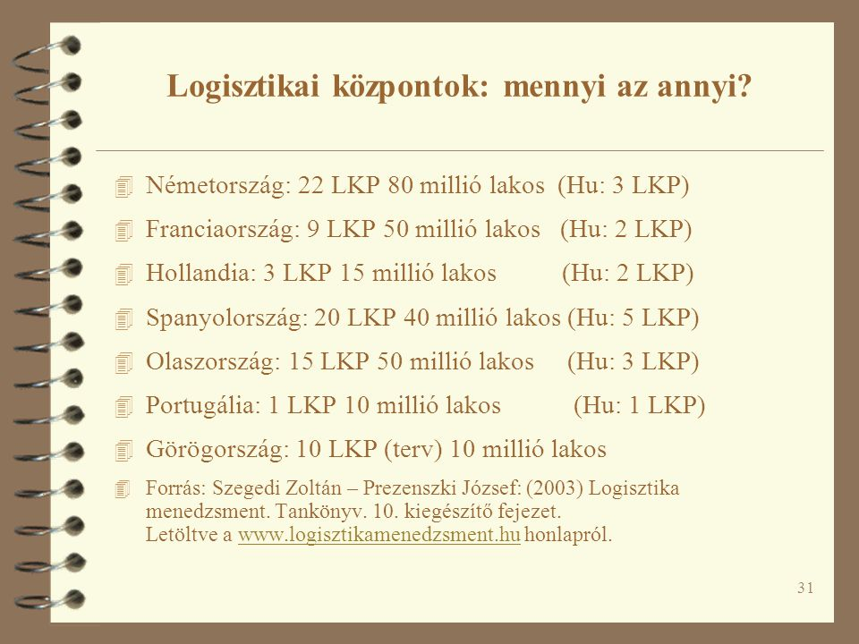 31 4 Németország: 22 LKP 80 millió lakos (Hu: 3 LKP) 4 Franciaország: 9 LKP 50 millió lakos (Hu: 2 LKP) 4 Hollandia: 3 LKP 15 millió lakos (Hu: 2 LKP)