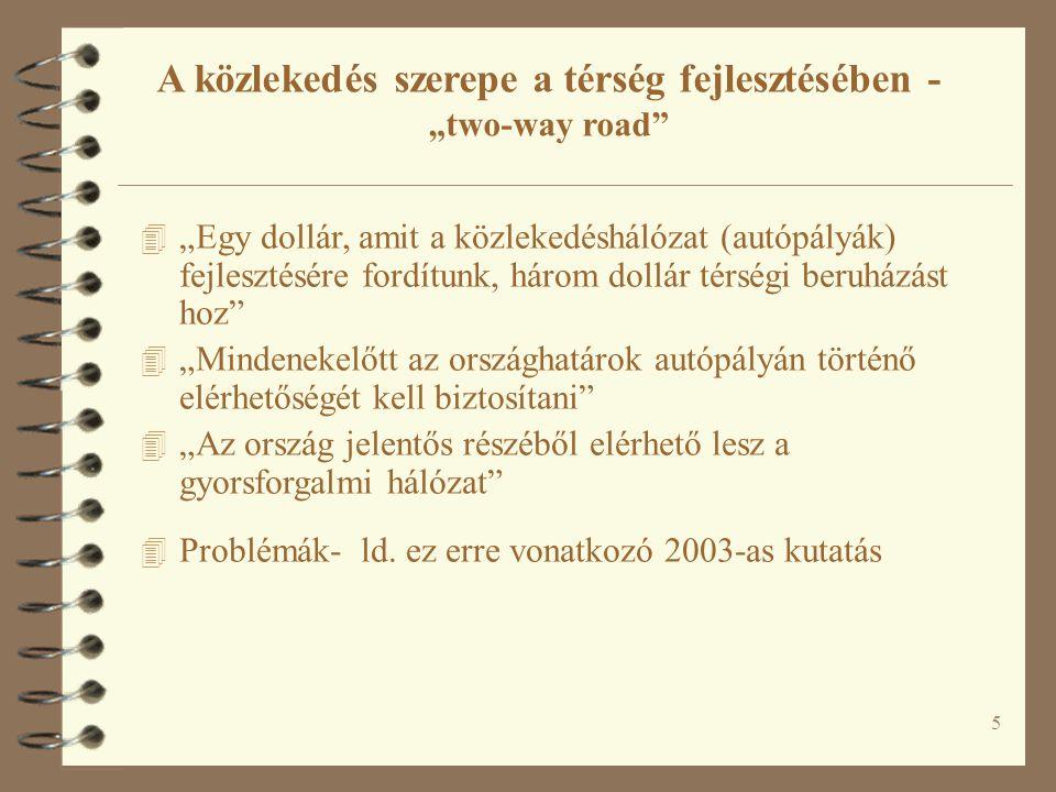 """5 A közlekedés szerepe a térség fejlesztésében - """"two-way road"""" 4 """"Egy dollár, amit a közlekedéshálózat (autópályák) fejlesztésére fordítunk, három do"""