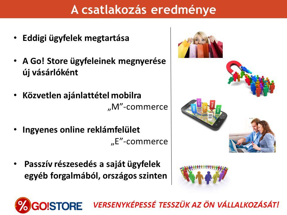 """Eddigi ügyfelek megtartása A Go! Store ügyfeleinek megnyerése új vásárlóként Közvetlen ajánlattétel mobilra """"M""""-commerce Ingyenes online reklámfelület"""
