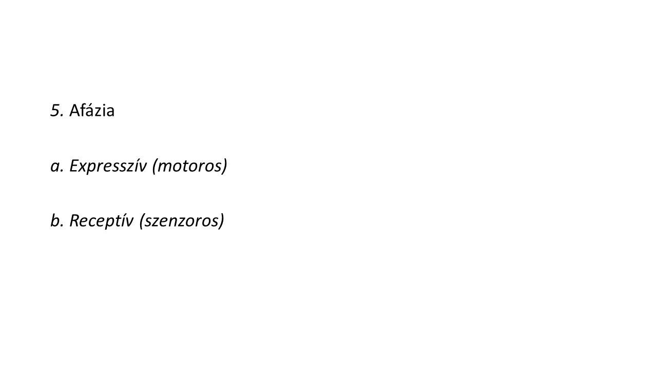 5. Afázia a. Expresszív (motoros) b. Receptív (szenzoros)