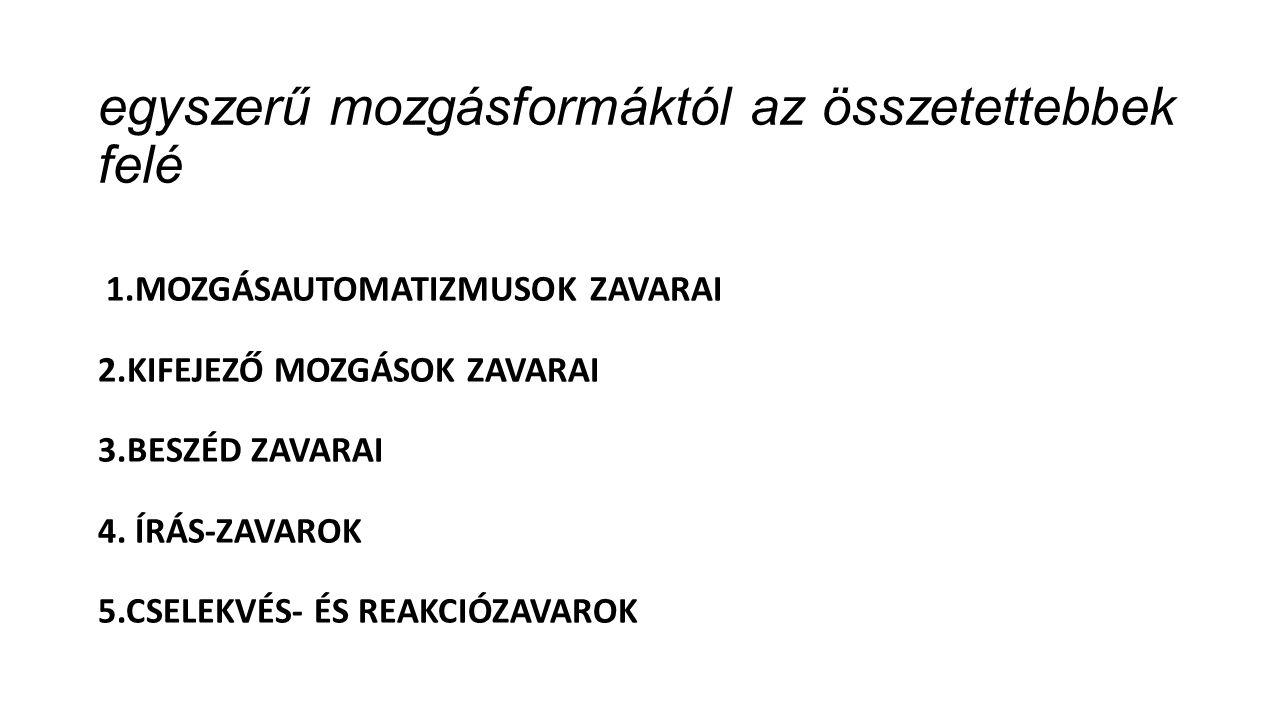 egyszerű mozgásformáktól az összetettebbek felé 1.MOZGÁSAUTOMATIZMUSOK ZAVARAI 2.KIFEJEZŐ MOZGÁSOK ZAVARAI 3.BESZÉD ZAVARAI 4.