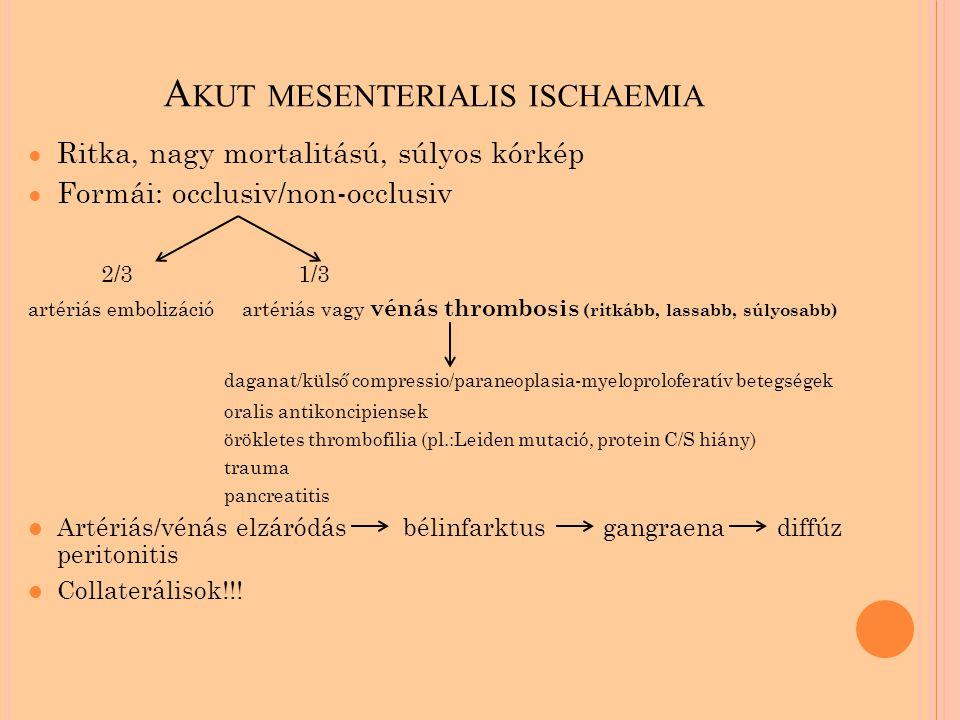 A KUT MESENTERIALIS ISCHAEMIA ● Ritka, nagy mortalitású, súlyos kórkép ● Formái: occlusiv/non-occlusiv 2/3 1/3 artériás embolizáció artériás vagy vénás thrombosis (ritkább, lassabb, súlyosabb) daganat/külső compressio/paraneoplasia-myeloproloferatív betegségek oralis antikoncipiensek örökletes thrombofilia (pl.:Leiden mutació, protein C/S hiány) trauma pancreatitis Artériás/vénás elzáródás bélinfarktus gangraena diffúz peritonitis Collaterálisok!!!