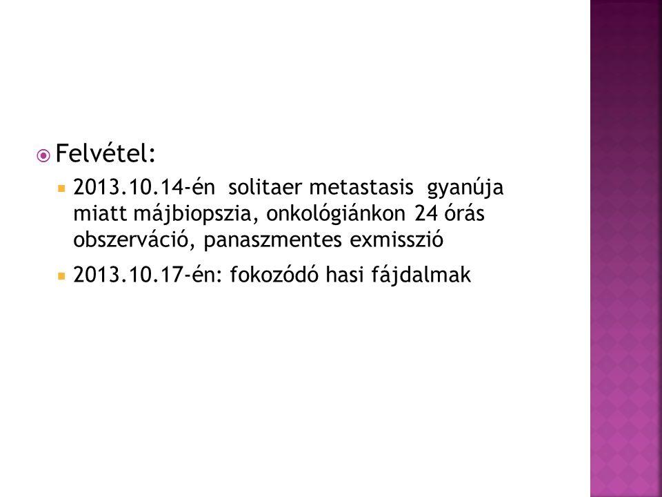  Felvétel:  2013.10.14-én solitaer metastasis gyanúja miatt májbiopszia, onkológiánkon 24 órás obszerváció, panaszmentes exmisszió  2013.10.17-én: fokozódó hasi fájdalmak