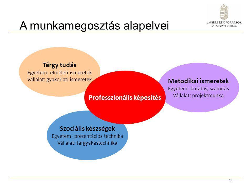 A munkamegosztás alapelvei 11 Metodikai ismeretek Egyetem: kutatás, számítás Vállalat: projektmunka Szociális készségek Egyetem: prezentációs technika