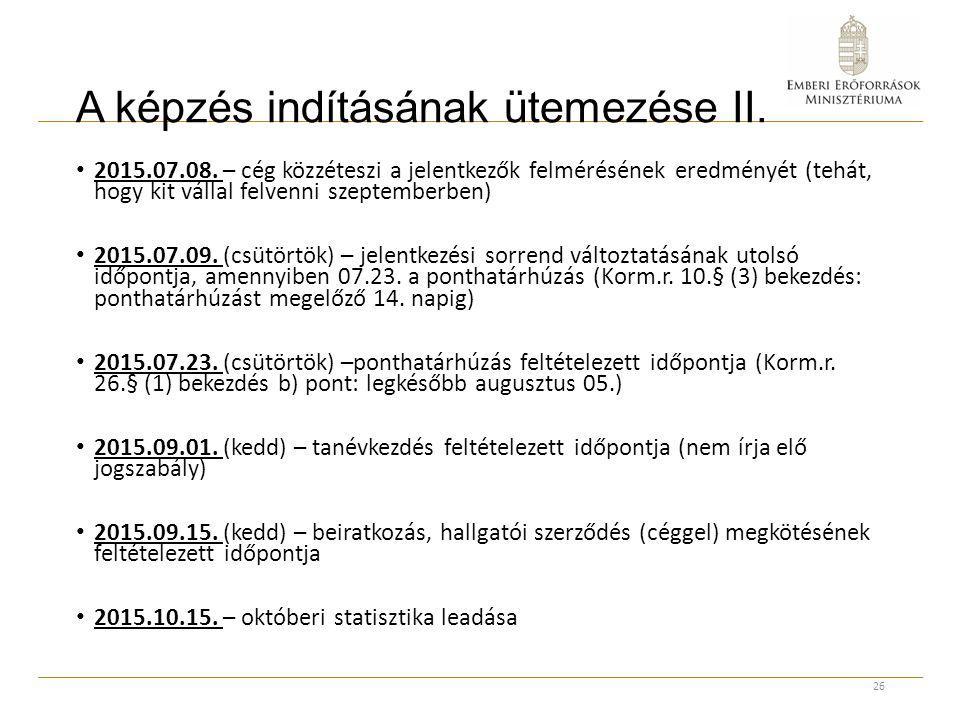 A képzés indításának ütemezése II. 2015.07.08. – cég közzéteszi a jelentkezők felmérésének eredményét (tehát, hogy kit vállal felvenni szeptemberben)
