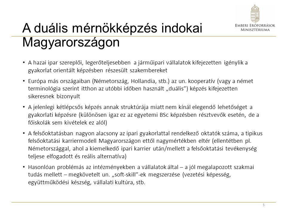 A duális mérnökképzés indokai Magyarországon A hazai ipar szereplői, legerőteljesebben a járműipari vállalatok kifejezetten igénylik a gyakorlat orien