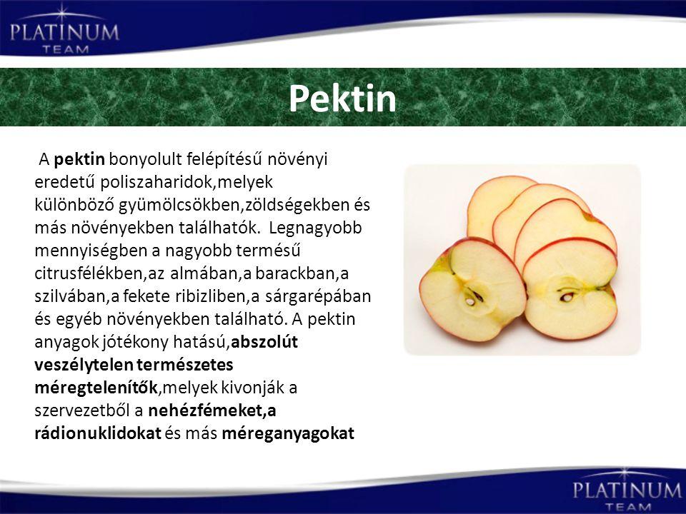 Pektin A pektin bonyolult felépítésű növényi eredetű poliszaharidok,melyek különböző gyümölcsökben,zöldségekben és más növényekben találhatók.