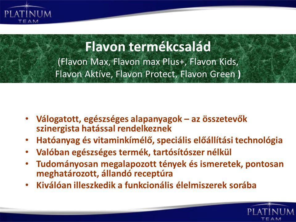 Flavon termékcsalád (Flavon Max, Flavon max Plus+, Flavon Kids, Flavon Aktíve, Flavon Protect, Flavon Green ) Válogatott, egészséges alapanyagok – az összetevők szinergista hatással rendelkeznek Hatóanyag és vitaminkímélő, speciális előállítási technológia Valóban egészséges termék, tartósítószer nélkül Tudományosan megalapozott tények és ismeretek, pontosan meghatározott, állandó receptúra Kiválóan illeszkedik a funkcionális élelmiszerek sorába