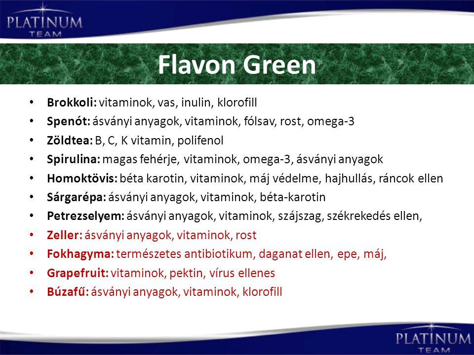 Flavon Green Brokkoli: vitaminok, vas, inulin, klorofill Spenót: ásványi anyagok, vitaminok, fólsav, rost, omega-3 Zöldtea: B, C, K vitamin, polifenol Spirulina: magas fehérje, vitaminok, omega-3, ásványi anyagok Homoktövis: béta karotin, vitaminok, máj védelme, hajhullás, ráncok ellen Sárgarépa: ásványi anyagok, vitaminok, béta-karotin Petrezselyem: ásványi anyagok, vitaminok, szájszag, székrekedés ellen, Zeller: ásványi anyagok, vitaminok, rost Fokhagyma: természetes antibiotikum, daganat ellen, epe, máj, Grapefruit: vitaminok, pektin, vírus ellenes Búzafű: ásványi anyagok, vitaminok, klorofill