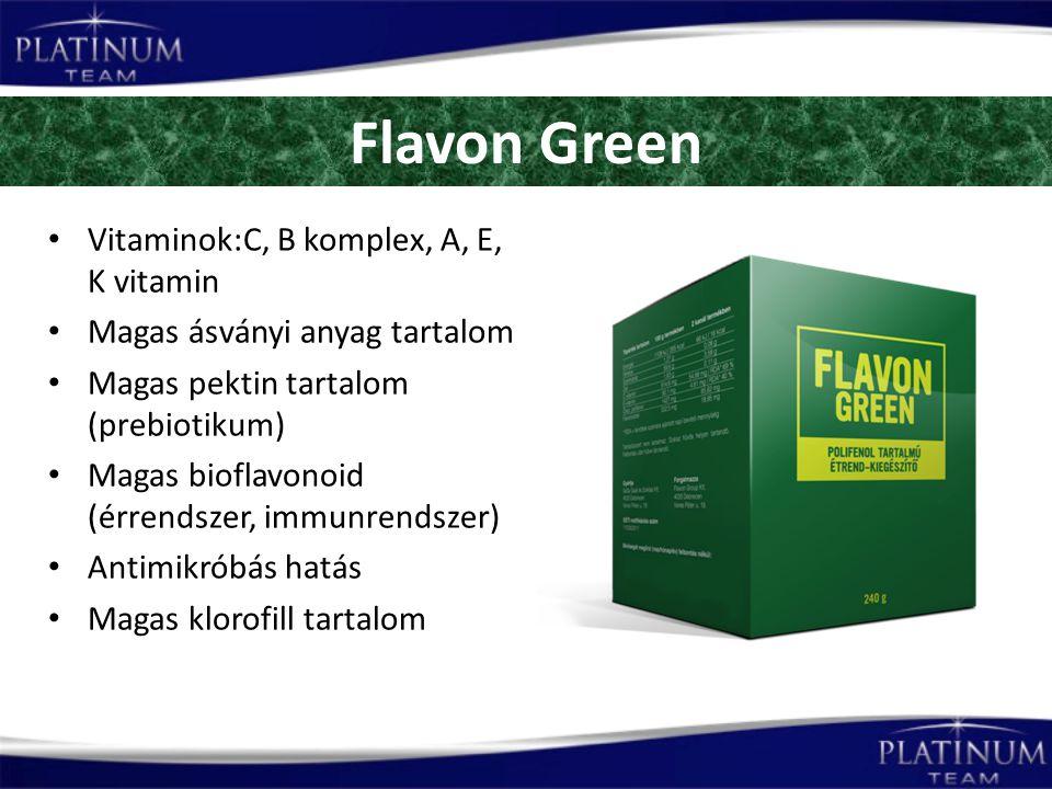 Flavon Green Vitaminok:C, B komplex, A, E, K vitamin Magas ásványi anyag tartalom Magas pektin tartalom (prebiotikum) Magas bioflavonoid (érrendszer, immunrendszer) Antimikróbás hatás Magas klorofill tartalom