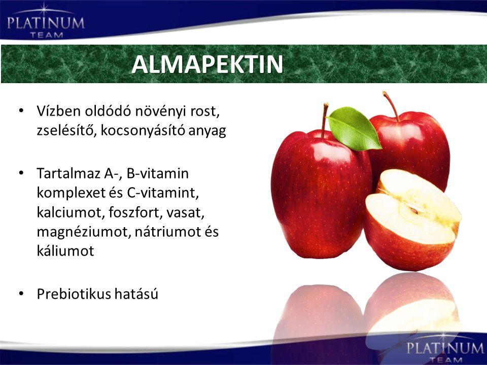 Vízben oldódó növényi rost, zselésítő, kocsonyásító anyag Tartalmaz A-, B-vitamin komplexet és C-vitamint, kalciumot, foszfort, vasat, magnéziumot, nátriumot és káliumot Prebiotikus hatású ALMAPEKTIN ALMAPEKTIN