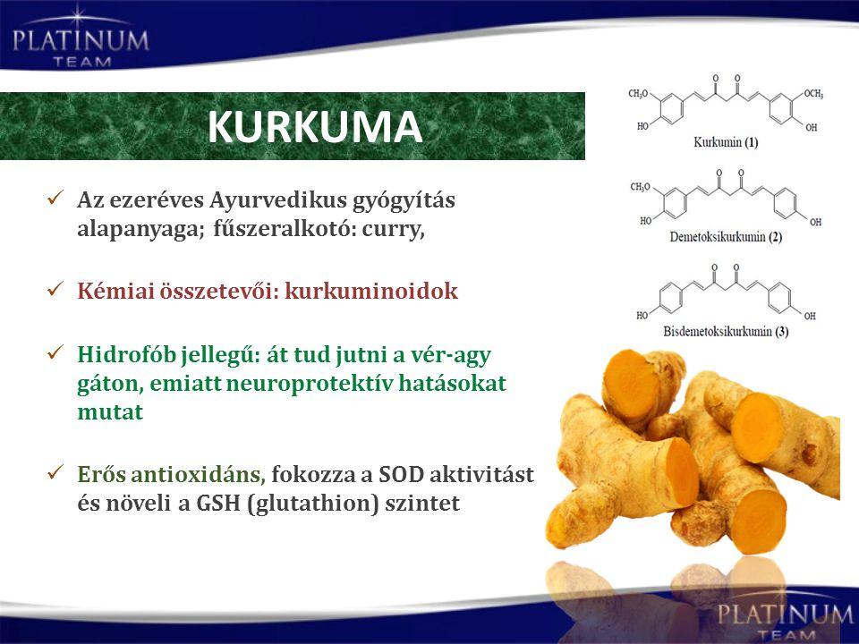Az ezeréves Ayurvedikus gyógyítás alapanyaga; fűszeralkotó: curry, Kémiai összetevői: kurkuminoidok Hidrofób jellegű: át tud jutni a vér-agy gáton, emiatt neuroprotektív hatásokat mutat Erős antioxidáns, fokozza a SOD aktivitást és növeli a GSH (glutathion) szintet