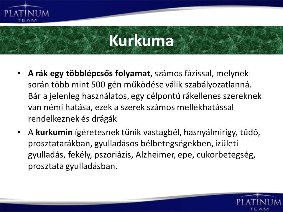 Kurkuma A rák egy többlépcsős folyamat, számos fázissal, melynek során több mint 500 gén működése válik szabályozatlanná.
