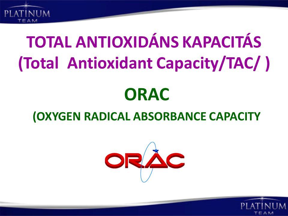TOTAL ANTIOXIDÁNS KAPACITÁS (Total Antioxidant Capacity/TAC/ ) ORAC (OXYGEN RADICAL ABSORBANCE CAPACITY