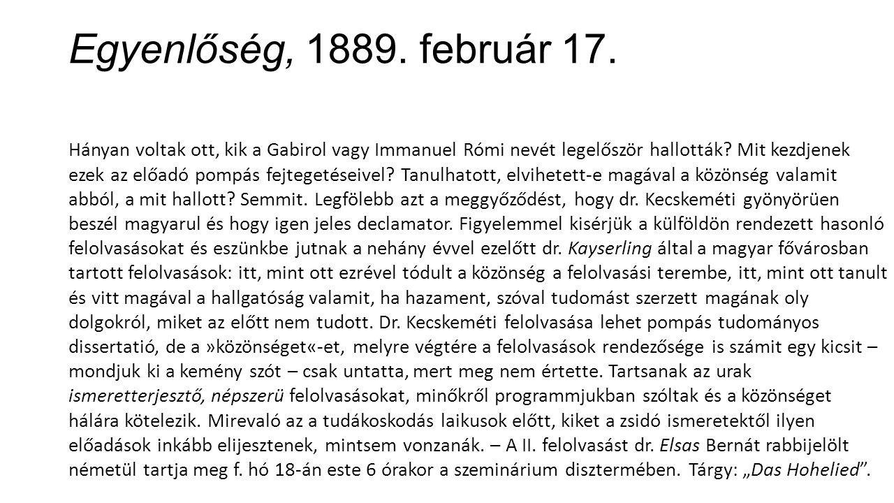 Egyenlőség, 1889. február 17.