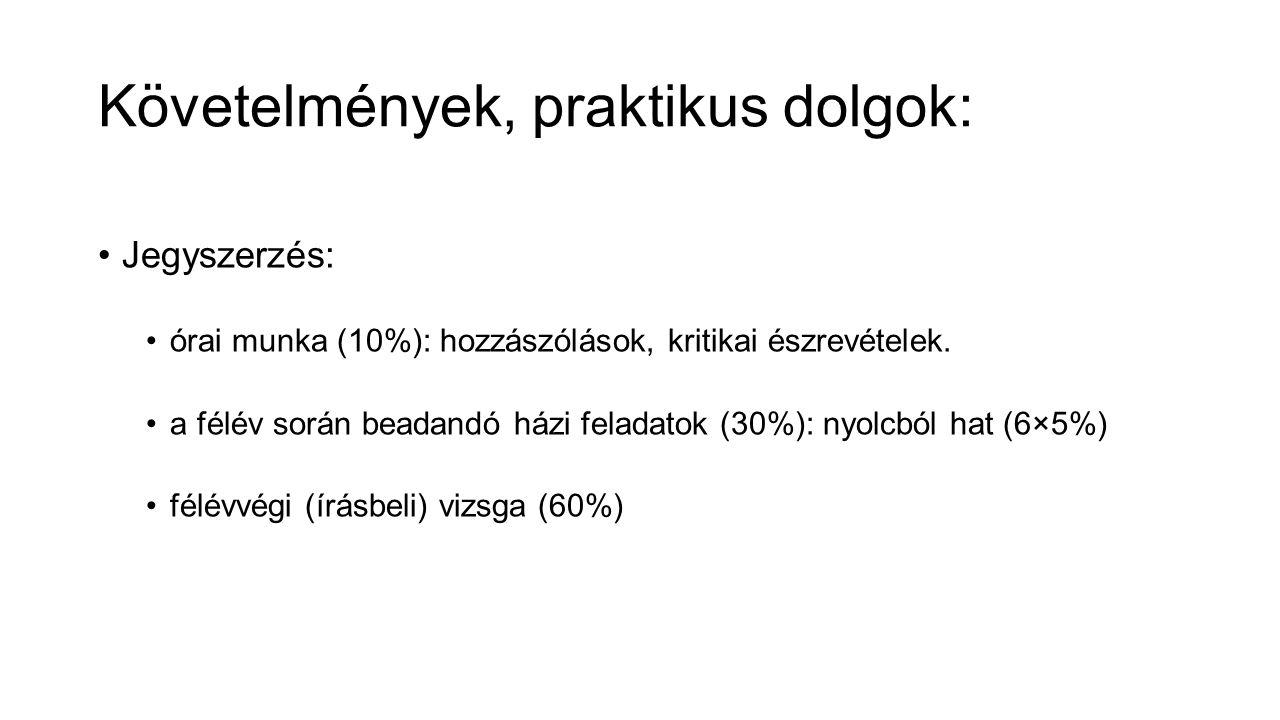 Követelmények, praktikus dolgok: Jegyszerzés: órai munka (10%): hozzászólások, kritikai észrevételek.