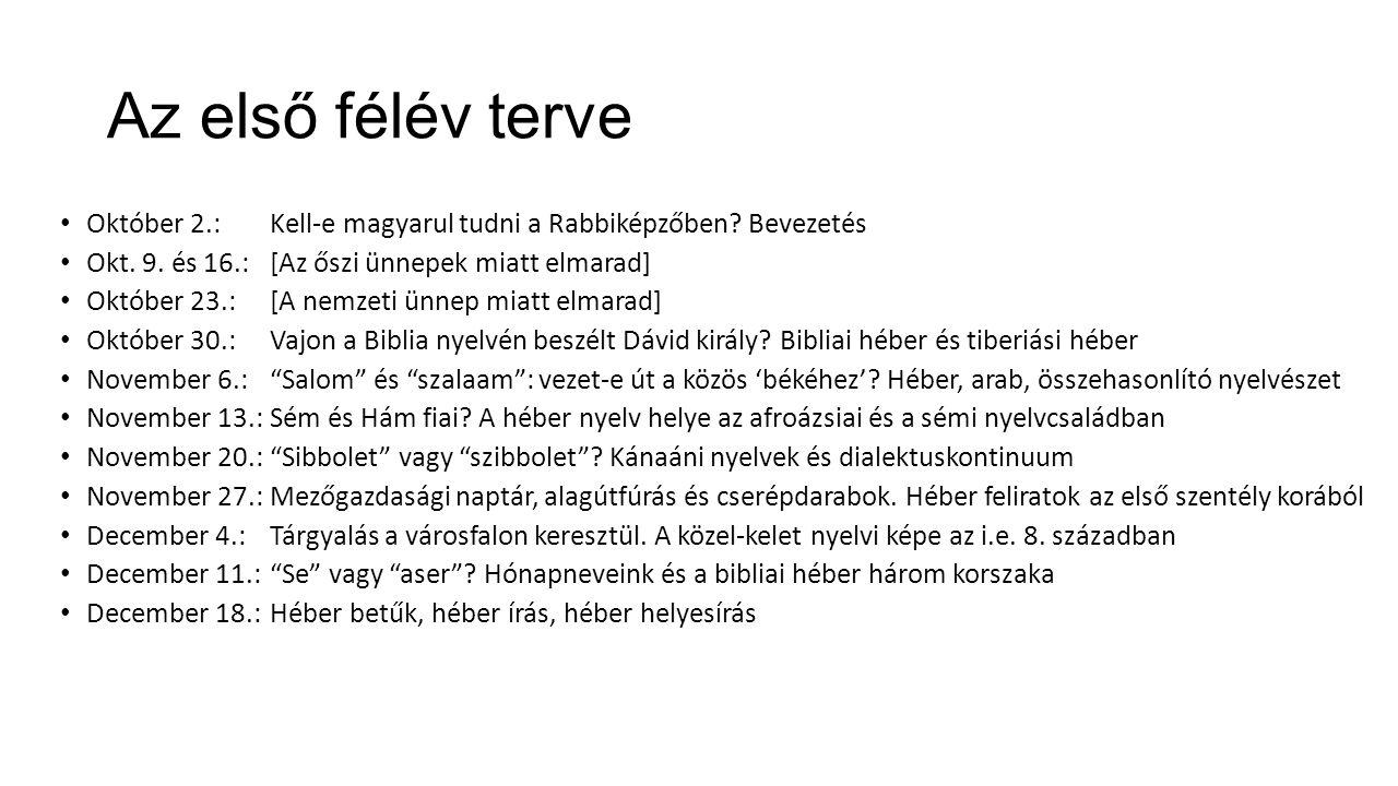 Az első félév terve Október 2.:Kell-e magyarul tudni a Rabbiképzőben.